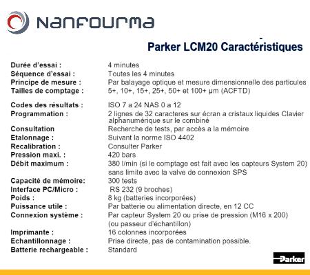 Caractéristiques Parker LCM20 - Compteur de particules
